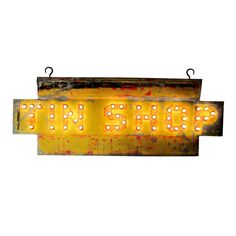 Tin Shop Sign | From a unique collection of antique and modern signs at https://www.1stdibs.com/furniture/folk-art/signs/