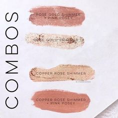 Did you know you can mix all of our cosmetics to make your own shades? Just like with LipSense ShadowSense can be layered like a normal look or you can premix to make a new color! Here is Rose gold Shimmer Copper Rose Shimmer and Pink Posey and how they can mix together! Which is your favorite combo of the two? #rose #gold #shimmer #rosegold #shadowsense #copper #pink #eyeshadow #eyeshadowpalette #makeup #girlboss #madeintheusa #vegan #smudgeproof #waterproof #sahm #wahm #senegence… Rose Gold Lipstick, Pink Eyeshadow, Copper And Pink, Copper Rose, Senegence Makeup, Senegence Products, Shadow Sense, Beauty Boutique, Cruelty Free Makeup