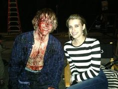 American Horror Story BTS (Evan Peters and Emma Roberts)
