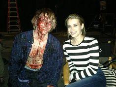 American Horror Story BTS (Evan Peters and Emma Roberts)