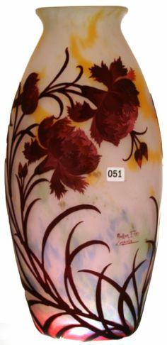 "15 1/2"" SIGNED MULLER FRES LUNEVILLE SIX COLOR FRENCH CAMEO ART GLASS VASE, ANEMONES FLORAL DESIGN"