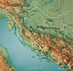 Croatia Map, Earth From Space, Topographic Map, Cartography, City Photo, River, Outdoor, Maps, Countries