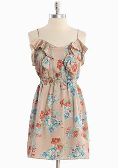 Garden Greetings Floral Dress In Taupe 38.99 at shopruche.com. Enhanced with a silky sheen, this taupe dress is polished with a romantic floral print, ruffle details, and an elasticized waist for the perfect fit. Adjustable straps. Partially lined.  100% Polyester, Made in USA, 32.5 length from top of shoulders