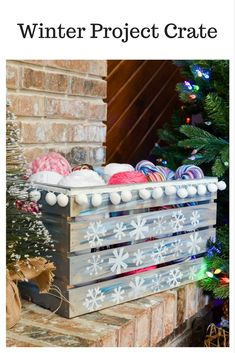 This fun Winter Project Crate will hold your craft supplies and works in progress while you enjoy a cozy winter's evening. Diy Crafts For Adults, Easy Diy Crafts, Fun Crafts, Christmas Crafts, Christmas Decorations, Christmas Ideas, Christmas Things, Country Christmas, Christmas Inspiration
