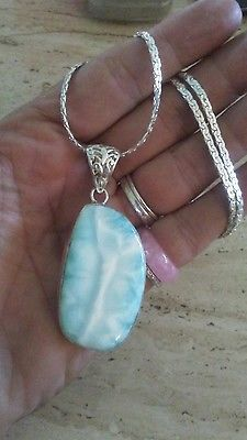 "STERLING BLUE MARBLED STONE PENDANT NECKLACE 925 20"" SILVER TONE CHAIN"