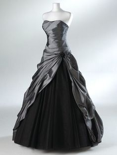 Silver Wedding Dress A-line Wedding Gowns Bridal Gown Bridal Dresses Custom -- YOU can swap the Black color) idk but that metalic grey. Organza Bridesmaid Dress, Tulle Prom Dress, Organza Dress, Party Dress, Satin Gown, Black Wedding Dresses, Bridal Dresses, Formal Dresses, Long Dresses