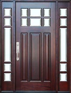 BGW-M36 Mahogany Door with Sidelights - contemporary - Front Doors - Door and Window Depot