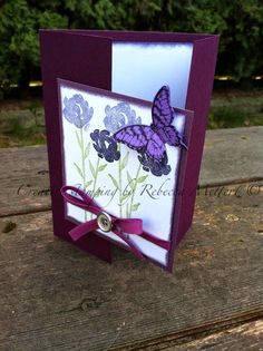 "Creative Stamping By Rebecca Mettert: Gate Fold Card "" Painted Petals"" Stampin Up papillon potpourri stamp set butterflies"