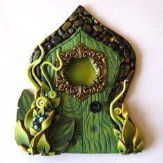 Absinthe Green Fairy Door, Miniature Door, Fairy Garden Decor, Art Nouveau Fairy Decor