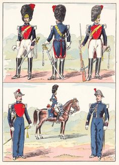 French; Imperial Guard, Gendarmerie a Cheval, 1857 from Hector Large's Le Costume Militaire Vol III