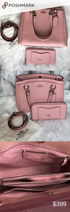 "COACH Purse Set NWT Coach blush crossbody and wallet set.  Purse Details Crossgrain leather Inside zip and multifunction pockets Center zip compartment Snap closure, fabric lining Handles with 5 1/2"" drop Detachable strap with 22"" drop for shoulder or crossbody wear 11 1/2"" (L) x 9 1/2"" (H) x 4 1/4"" (W)  Wallet Details Crossgrain leather Twelve credit card and multifunction pockets Full-length bill compartment Zip coin pocket Outside open pocket Zip-around closure 7 3/4"" (L) x 4"" (H) Coach…"