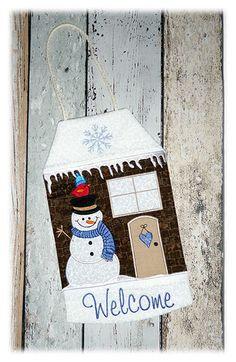 Der Stickbär  Winter Welcome House ITH gestickt von Jan
