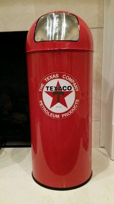 RARE Texaco Oil Gas Drum Trash Can Man Cave Garage Den Decor Women