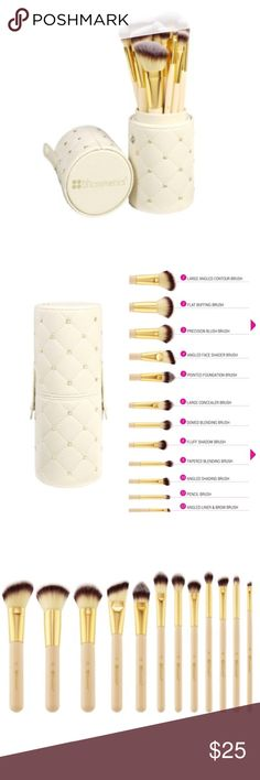 bh cosmetics 12 brush set cup case studded couture The gold-studded cylindrical protective hard case snaps closed for travel and adds a chic accent to any makeup table. Cruelty Free Synthetic Duo Fiber Brushes, High-quality For Face and Eyes 1. Large Angled Contour Brush 2. Flat Buffing Brush 3. Precision Blush Brush 4. Angled Face Shader Brush 5. Pointed Foundation Brush 6. Large Concealer Brush 7. Domed Blending Brush 8. Fluff Shadow Brush 9. Tapered Blending Brush 10. Angled Shading Brush…