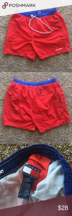 Vintage Tommy Hilfiger swimming trunks. Amazingly clean and swaggy Tommy Hilfiger swimming trunks. Are you geared up for summer? Get ready with these fire shirts. Size men's XL. Tommy Hilfiger Swim Swim Trunks