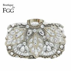 0ca44a2b6b1 Silver Crystal Beaded Sequins Vintage Women Handbag Metal Clutches Evening  Bags Bridal Purse Wedding Party Prom