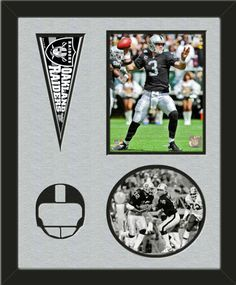 Two framed 8 x 10 inch Oakland Raiders photos of Carson Palmar (including one VERTICAL photo at the top and one HORIZONTAL photo framed in an oval) with a Oakland Raiders mini pennant, double matted in team colors to 16 x 20 inches.  Includes a football helmet which is cut into the top mat and shows the bottom mat color.  The oval photo will be cropped to fit.  (Pennant design subject to change)  $89.99  @ ArtandMore.com
