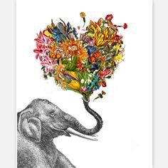 The Happy Elephant Print