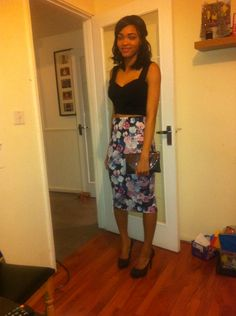 Black cut out bralet, Floral midi skirt. Ready for night out.