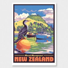 Mount Maunganui Art Print by Ross Murray Graphic Posters, Graphic Art, Poster Prints, Framed Prints, Tourism Poster, Travel Posters, Craft Beer Labels, Mount Maunganui, Nz Art