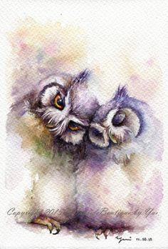 "PRINT – The Owl Watercolor painting 7.5 x 11""  The artwork print reproduction of my Original Watercolor painting.  Printed area: 7.5 x 11 Paper"