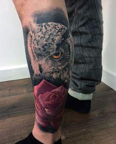 Owl And Rose Leg Tattoo Ideas