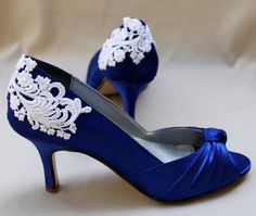 "Royal Blue Wedding shoes- Something blue heels 2.5"" heel - Amory"