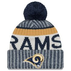 Men s Los Angeles Rams New Era Navy 2017 Sideline Official Sport Knit Hat 27409a547