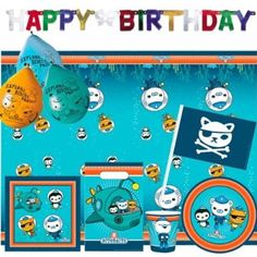 Octonauts Birthday Bumper Party Pack for 8 - 56 items! Cups, Plates, Napkins, Tablecover, Pk6 Balloons, Party Bags, Waving Flags, Birthday Banner: Amazon.co.uk: Toys & Games