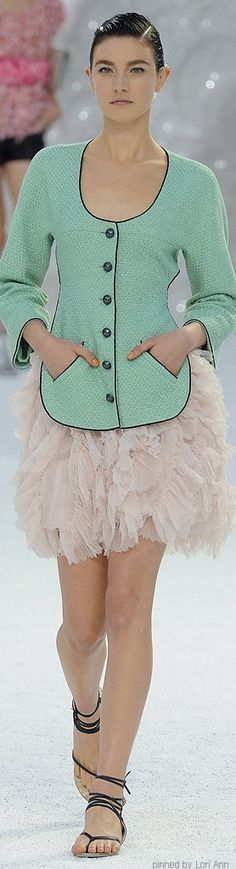 ♡CHANEL textured mint green jacket and ruffled tulle skirt