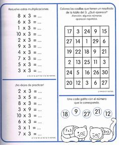 Multiplication Facts Worksheets, 3rd Grade Math Worksheets, Multiplication And Division, Math For Kids, Games For Kids, Times Tables, Teaching Time, Prepositions, English Lessons