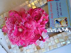 Over The Top Hearts Lace Silver & Hot Pink Sequin by Unikbaby, $15.00 #silver #hotpink #lace #headband