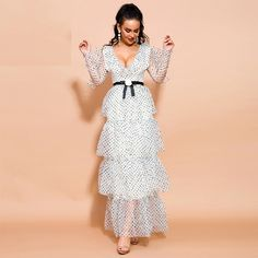 Color : Beige Material : Polyester Style : Bohemian Pattern Type : Dot Neckline : V-Neck The post Sexy V Neck Long Sleeve Dot Ruffles Maxi Dresses appeared first on Power Day Sale. Maxi Outfits, Boho Outfits, Maxi Dresses, Party Outfits, Maxi Skirts, Look Boho, Girls Party Dress, Boho Fashion, Fashion Styles