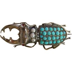 An Art Nouveau French Figural Pave Turquoise Beetle