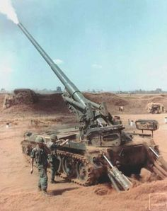M-107, 175mm self-propelled gun firing during Operation San Angelo, Vietnam, January-February 1968.  The M-107 was used extensively in Vietnam for long range fire support