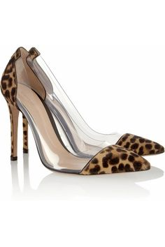 Hand-finished Heel measures approximately 105mm/ 4 inches Leopard-print calf hair Clear PVC panels with air vents, pointed toe, leather sole Slip on