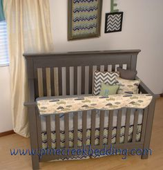 Retro Car Fabric With Chevron In The Crib