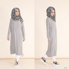Hijab Fashion 2016/2017: rriving this week – Casual Midi Grey Pair with Blue Venezia Chiffon Hijab & White Ankle Grip Trousers Shop online www.aabcollection… #aablondon #aabcollection #aabnewarrivals...