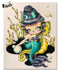 Original PaintingBig EyeRetro 60s Mermaid Seahorse by pinkytoast, $399.00