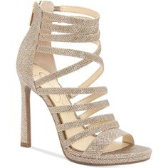 Jessica Simpson Palkaya Dress Sandals ($80) ❤ liked on Polyvore featuring shoes, sandals, jessica sparkle, sparkly shoes, sparkly sandals, strap sandals, strappy stiletto sandals and dress sandals