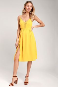 7108b41fb1a The Lulus Melena Mustard Yellow Lace Backless Midi Dress is like walking in