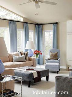 Great window treatments!  Design: Tobi Fairley