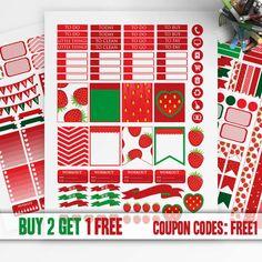 Strawberry Planner Stickers Printable, Erin Condren Sticker, Monthly/Weekly Sticker Kit, Printable Sampler, Erin Condren, Instant download