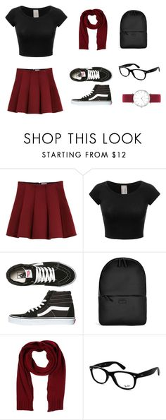 """""""school outfit"""" by melody-pearl ❤ liked on Polyvore featuring Outstanding Ordinary, Vans, Rains, Annarita N., Ray-Ban and Abbott Lyon"""