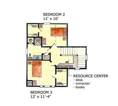 Second Floor Plan of Country Farmhouse Narrow Lot House Plan 56506 Narrow Lot House Plans, Family House Plans, Farmhouse Plans, Country Farmhouse, Dining Room Fireplace, Construction Documents, New Home Designs, Shed Plans, Finding A House