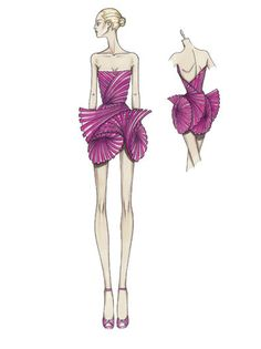 Atelier Versace Spring 2009. Fuchsia pink silk organza bustier mini dress  A pleated effect in a fan shape creates graphic rhythms of transparency and open out in a three dimensional effect