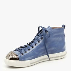 Studded caps on denim blue leather! A sneaker after my sole!  Miu Miu | $570 reg.