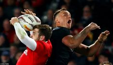 Israel Dagg is left open-mouthed as Elliot Daly gathers a high kick ahead of him. British And Irish Lions, New Zealand, Israel, Kicks