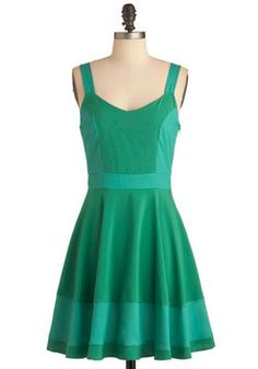 Sorbetto Believe It Dress in Green. You can hardly believe your eyes when you don this colorblocked dress of pistachio and minty-blue hues - you look simply stunning! #green #modcloth