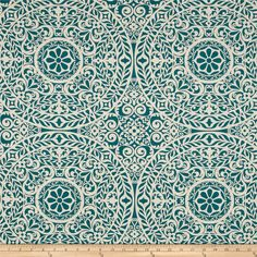 Richloom R Gallery Tachenda Teal from @fabricdotcom  Screen printed on a cotton/linen blend this medium/heavyweight fabric is very versatile and perfect for window treatments (draperies, valances, curtains, and swags), accent pillows and upholstering furniture, headboards, ottomans and poufs. Colors include teal and natural.